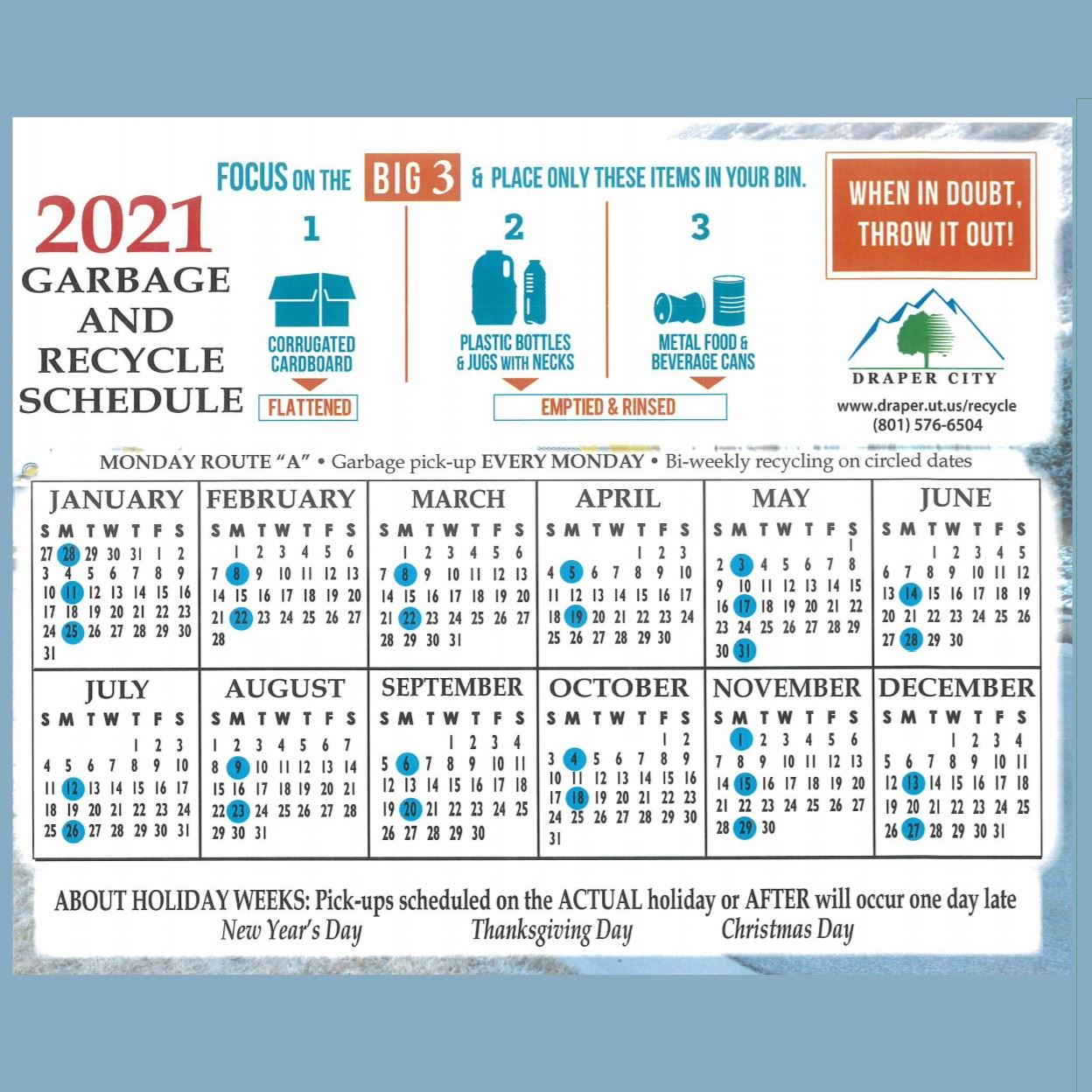 recycle calendar - square
